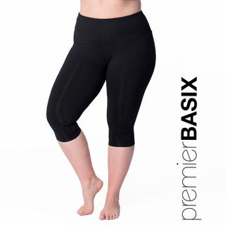 Rainbeau Curves Premier Basix Women's Black Nylon Capri Pants