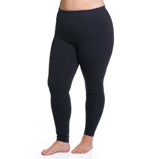 Curve Basix Women's Black Cotton/Spandex Sport Tights