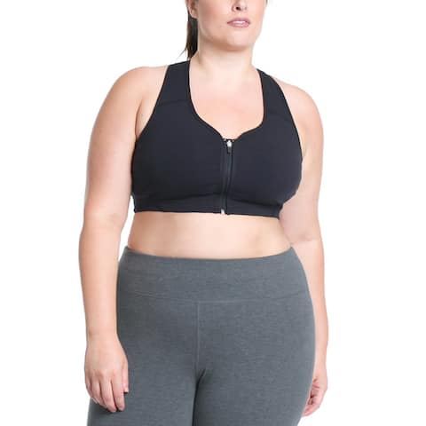 Rainbeau Curves Black Cotton/Spandex Plus-size Lucy Sports Bra