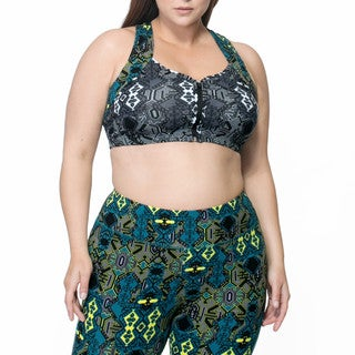 Rainbeau Curves Bette Women's Black Spandex/Cotton Mix-print Bra