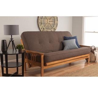 Somette Beli Grey/Brown Linen/Wood Futon