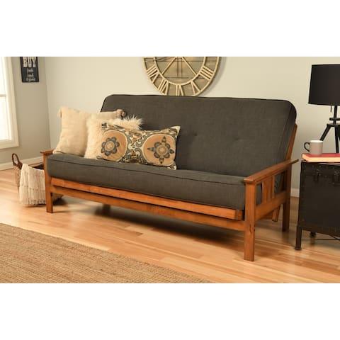 Porch & Den Kern Beli Grey/Brown Linen/Wood Futon