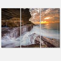 White Sea Waters at Coogee Beach - Large Seashore Metal Wall At - 36Wx28H