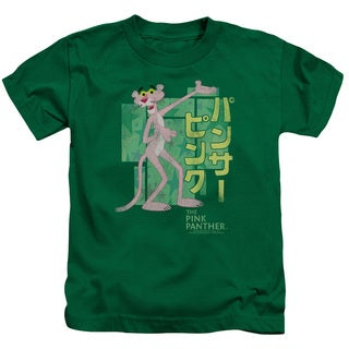 MGM/Pink Panther/Asian Letters Short Sleeve Juvenile Graphic T-Shirt in Kelly Green