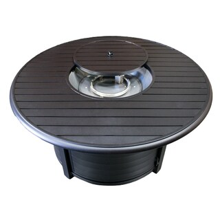 Hiland F-1350-FPT Black Stainless Steel and Aluminum Round Fire Pit
