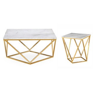 Leopold White/Goldtone Marble/Steel Tables (Set of 2)
