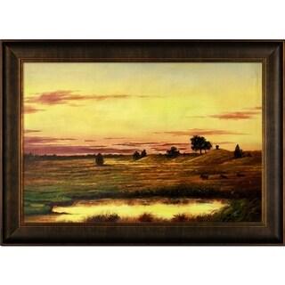 Martin Johnson Heade 'Sunset Rhode Island' Hand Painted Framed Canvas Art