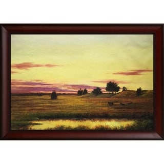 Martin Johnson Heade 'Sunset Rhode Island' Hand Painted Framed Canvas Art