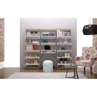 Manhattan Comfort Accentuations Carpina White MDF/Melamine Floating Ladder Shelf Office Desk (3-piece Set)