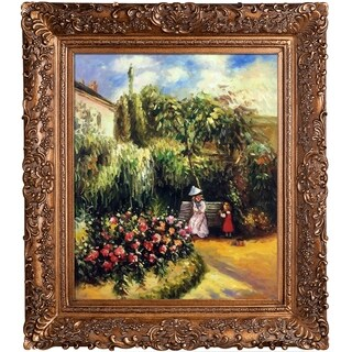 Camille Pissarro 'The Garden at Pontoise' Hand Painted Framed Canvas Art