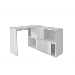 Accentuations by Manhattan Comfort Bari White MDF and Melamine 4-shelf Bookcase Desk