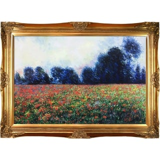 Claude Monet 'Poppies at Giverny' Hand Painted Framed Canvas Art