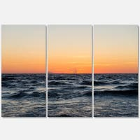 Red Dramatic Sunset Over Beach - Large Seashore Metal Wall At - 36Wx28H