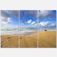 Sea Beach on Cloudy Winter Day - Large Seashore Metal Wall At - 36Wx28H