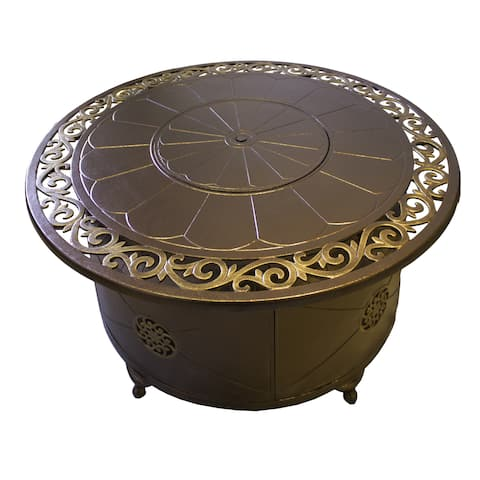 Hiland Brown and Goldtone Aluminum Glass Bead 48-inch Round Firepit