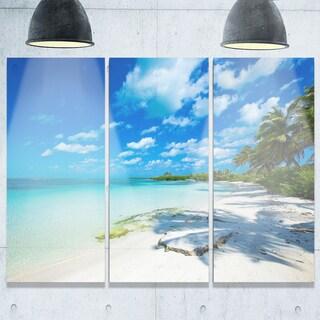 Tropical Beach with Palm Shadows - Large Seashore Metal Wall At - 36Wx28H