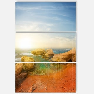 Rocky Red Beach and Blue Sky - Large Seashore Metal Wall At - 36Wx28H