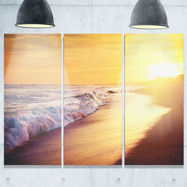 Bright Yellow Sky with Foam Waves - Large Seashore Metal Wall At - 36Wx28H - 36 x 28