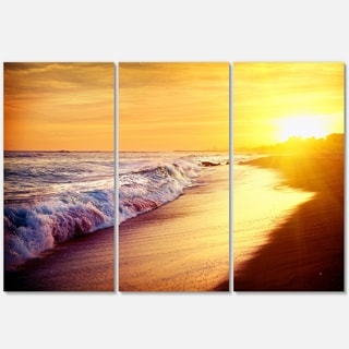 Bright Yellow Sky with Foam Waves - Large Seashore Metal Wall At - 36Wx28H