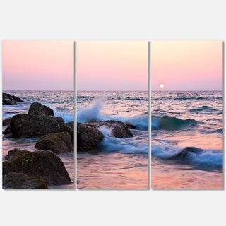 Rocky Coast with Foam Waves - Large Seashore Metal Wall At - 36Wx28H