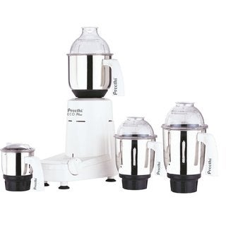 Preethi Eco Plus White Polycarbonate/Stainless Steel 4-jar Mixer Grinder