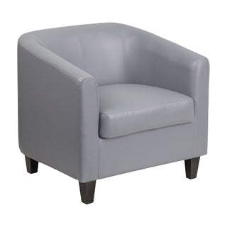 Offex Grey LeatherSoft Home Office Barrel Back Guest and Reception Chair with Sloping Arms