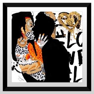 """BY Jodi """"Kiss Me In Gold"""" Framed Plexiglass Wall Art"""