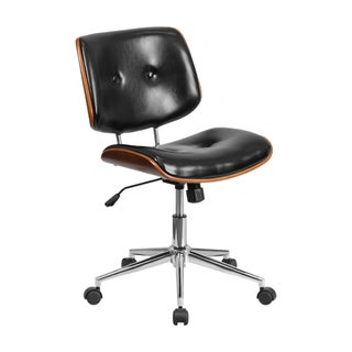 Offex Black Leather/Wood Mid-back Ergonomic Swivel Task Chair