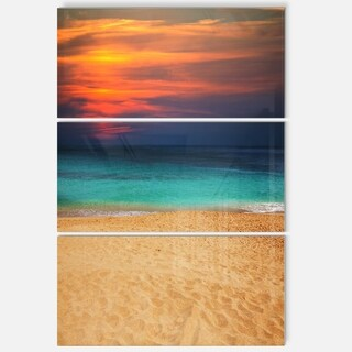 Sand to Sky Colorful Seashore - Modern Beach Metal Wall At - 36Wx28H