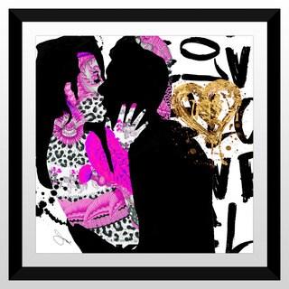 """BY Jodi """"Kiss Me In Pink"""" Framed Plexiglass Wall Art"""