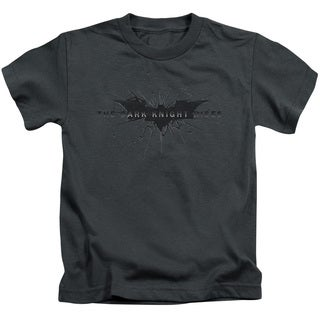 Dark Knight Rises/Scratched Logo Short Sleeve Juvenile Graphic T-Shirt in Charcoal