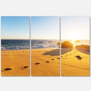 Large Footprints on Beach Sand - Modern Beach Metal Wall At - 36Wx28H