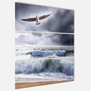 Large Seagull over Stormy Waves - Modern Beach Metal Wall At - 36Wx28H