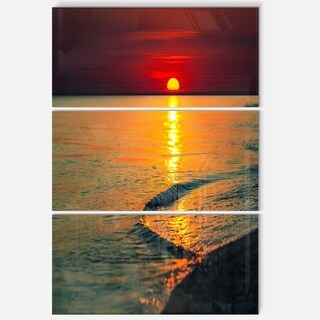 Setting Sun Giving Color to Waters - Modern Beach Metal Wall At - 36Wx28H