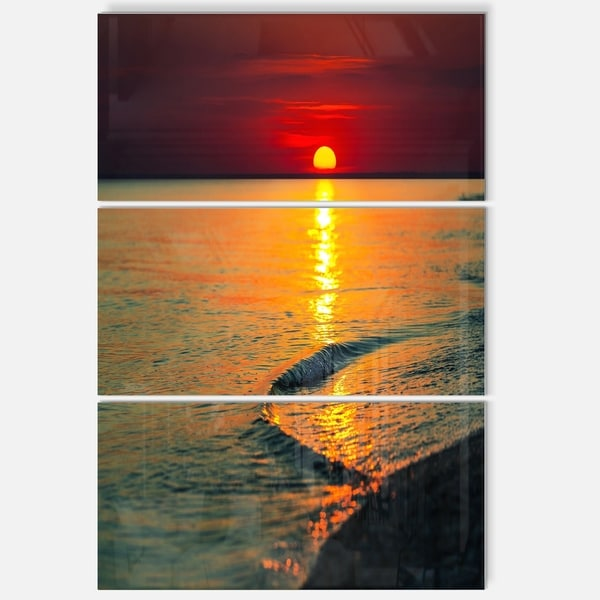 Setting Sun Giving Color to Waters - Modern Beach Metal Wall At - 36Wx28H - 28 in. wide x 36 in. high - 3 panels