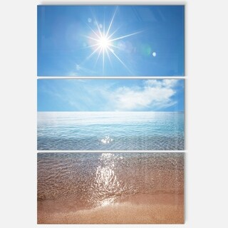 Serene Seascape with Bright Sun - Modern Beach Metal Wall At - 36Wx28H
