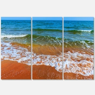 Summer Seashore with White Waves - Modern Beach Metal Wall At - 36Wx28H