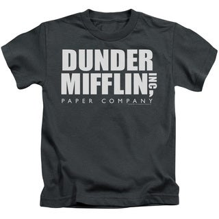 The Office/Dunder Mifflin Short Sleeve Juvenile Graphic T-Shirt in Charcoal