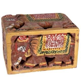 Handmade Stone Elephant Box (India)