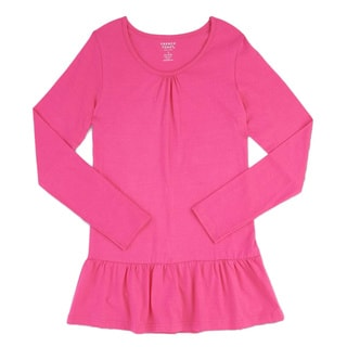 French Toast Girls' Pink Cotton Long-sleeve Drop Waist Tunic