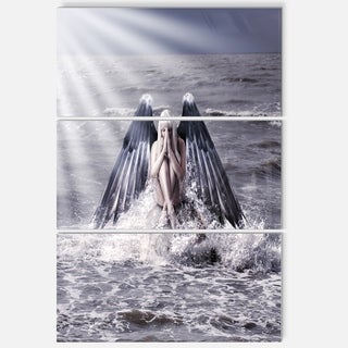 Woman with Dark Angel Wings - Modern Beach Metal Wall At - 36Wx28H