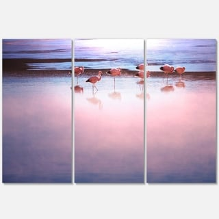 Flamingo Birds on Bolivia Beach - Modern Beach Metal Wall At - 36Wx28H