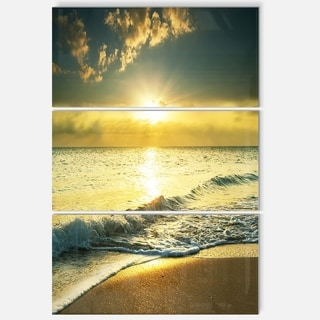 Yellow Sunlight over Crystal Waters - Seashore Metal Wall At - 36Wx28H