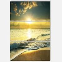 Yellow Sunlight over Crystal Waters - Seashore Metal Wall At - 36Wx28H