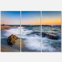 White Waves Crashing on Rocks - Seashore Metal Wall At - 36Wx28H