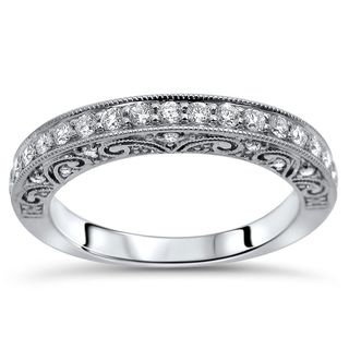 Noori 18k White Gold 2/5ct TDW Round Diamond Vintage Style Wedding Band