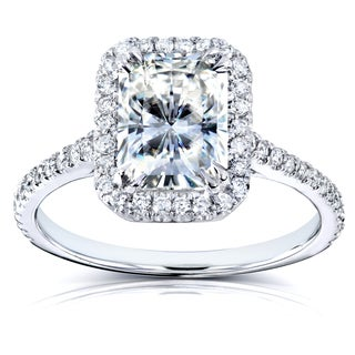 Annello by Kobelli 14k White Gold Forever Brilliant Radiant-cut Moissanite and 1/4ct TDW Diamond Eng