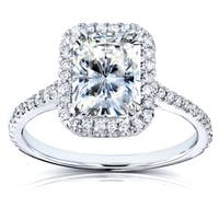 Annello by Kobelli 14k White Gold Radiant-cut Moissanite (FG) and 1/4ct TDW Diamond (GH) Halo Engagement Ring
