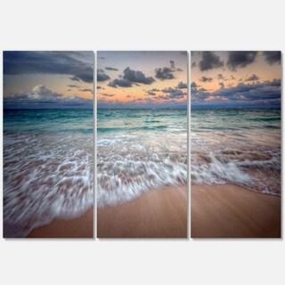 Waves Crashing Serene Seashore - Seashore Metal Wall At - 36Wx28H