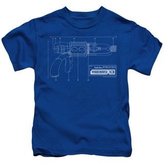 Warehouse 13/Tesla Gun Short Sleeve Juvenile Graphic T-Shirt in Royal
